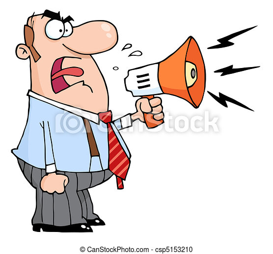 Boss Man Screaming Into Megaphone  - csp5153210