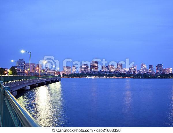 Boston Back Bay After Sunset - csp21663338