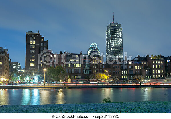 Boston Charles River Basin at night - csp23113725