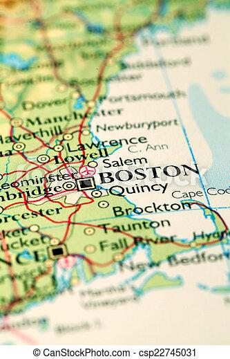 Boston city on map. Boston usa, on atlas world map.