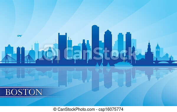 Boston city skyline silhouette background - csp16075774