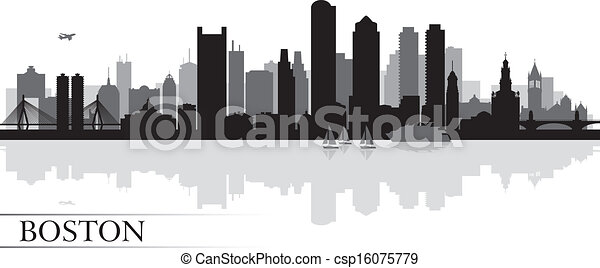 Boston city skyline silhouette background - csp16075779