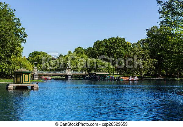 Boston Common public garden lake in Massachusetts - csp26523653
