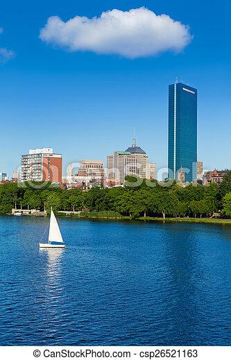Boston Harvard Bridge in Charles river - csp26521163