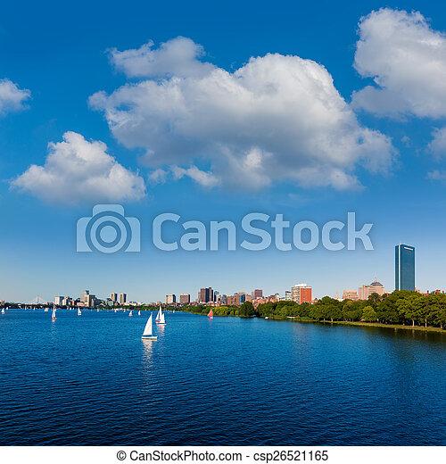 Boston Harvard Bridge in Charles river - csp26521165