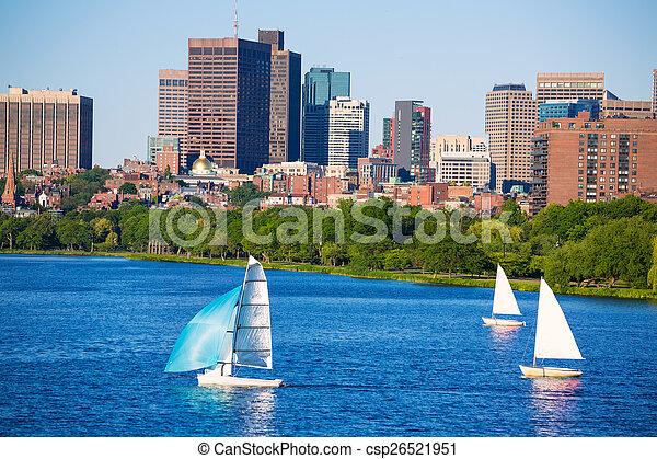 Boston Harvard Bridge in Charles river - csp26521951