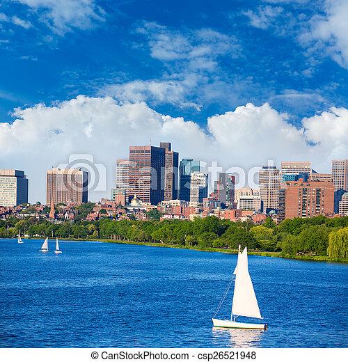 Boston Harvard Bridge in Charles river - csp26521948