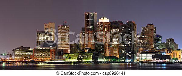 Boston night panorama - csp8926141