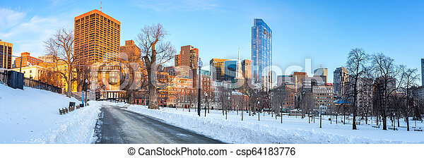 Boston public garden at winter - csp64183776