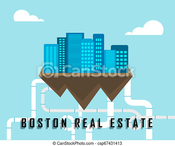 Boston Real Estate Apartments Represent Property In Massachusetts 3d Illustration - csp67431413