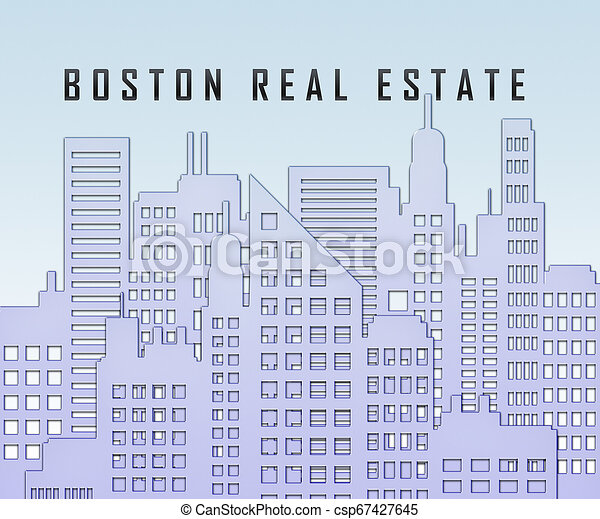 Boston Real Estate City Represents Property In Massachusetts 3d Illustration - csp67427645