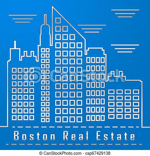 Boston Real Estate City Represents Property In Massachusetts 3d Illustration - csp67429138