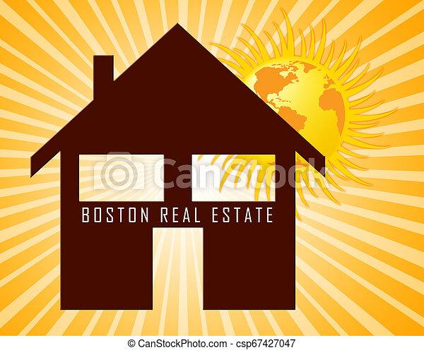 Boston Real Estate Icon Represents Property In Massachusetts 3d Illustration - csp67427047
