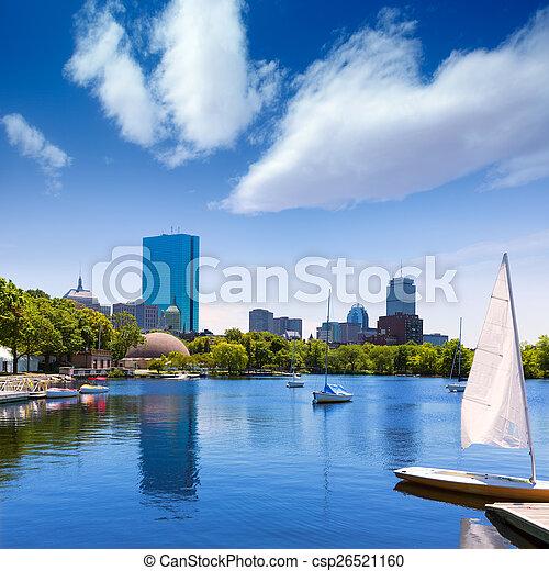 Boston sailboats Charles River at The Esplanade - csp26521160