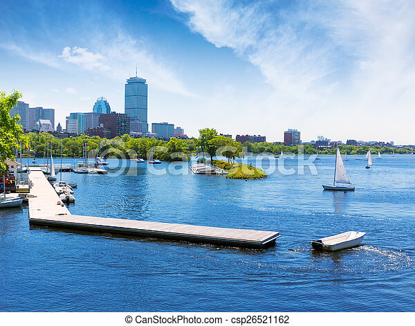 Boston sailboats Charles River at The Esplanade - csp26521162