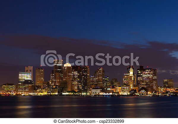 Boston skyline by night from East Boston, Massachusetts - USA - csp23332899