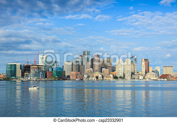 Boston skyline by night from East Boston, Massachusetts - USA - csp23332901