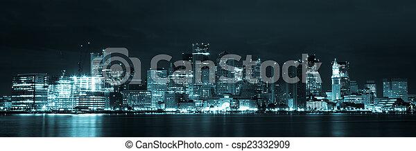 Boston skyline by night from East Boston, Massachusetts - USA - csp23332909