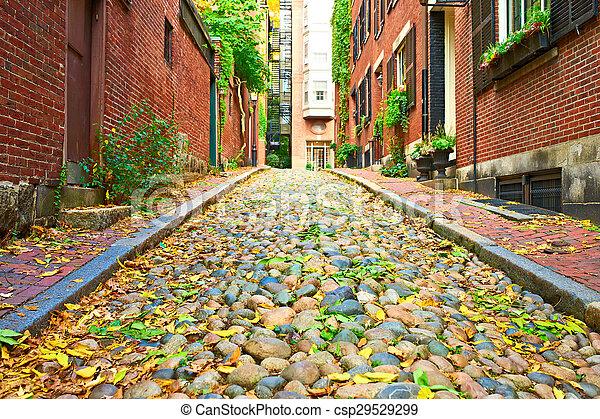 boston, storico, strada, ghianda - csp29529299