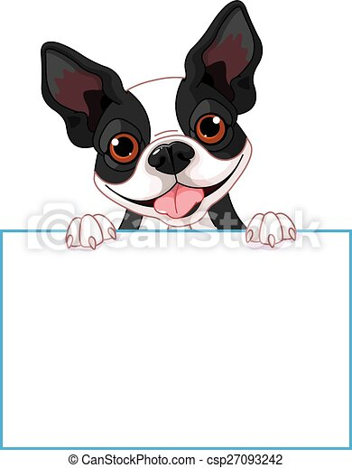 boston terrier sign cute boston terrier holds a sign rh canstockphoto com Boston Terrier Silhouette Boston Terrier Silhouette