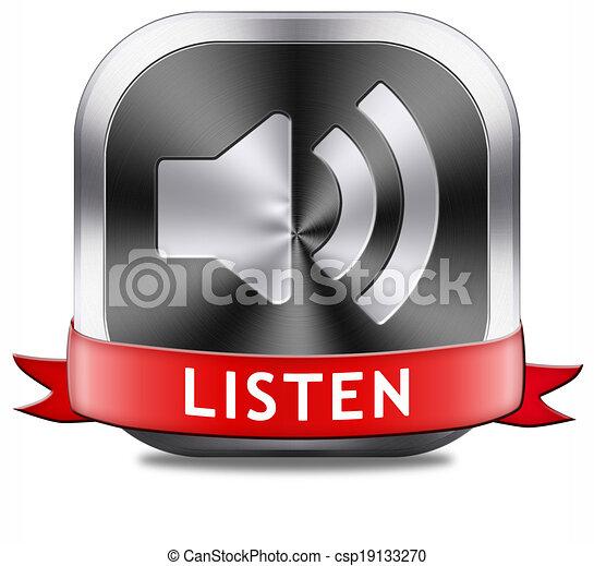 botão, escutar - csp19133270