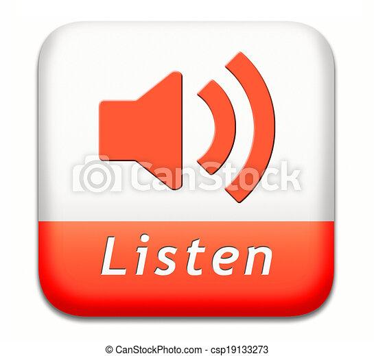botão, escutar - csp19133273