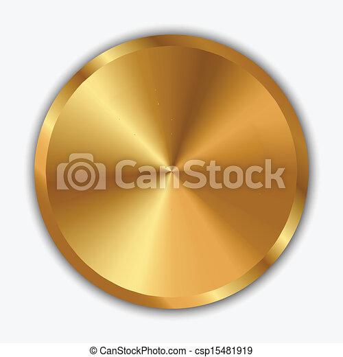 botão, vetorial, ilustração, ouro - csp15481919