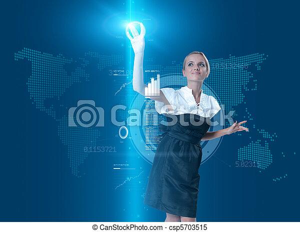 botão, virtual, tocar, atraente, interface, loiro, futuro - csp5703515