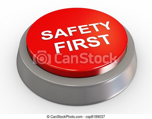 botón, 3d, seguridad primero - csp8189037