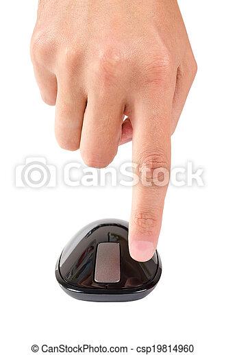Los dedos apuntan al botón izquierdo del ratón de computadora aislado - csp19814960