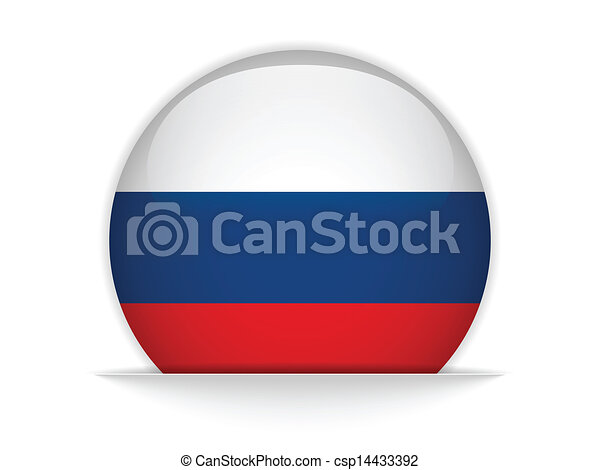 Botón de bandera rusa brillante - csp14433392