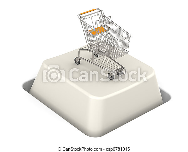 Botón con carrito de compras - csp6781015