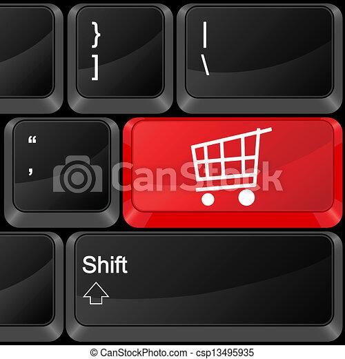 El carrito de la compra de botones - csp13495935