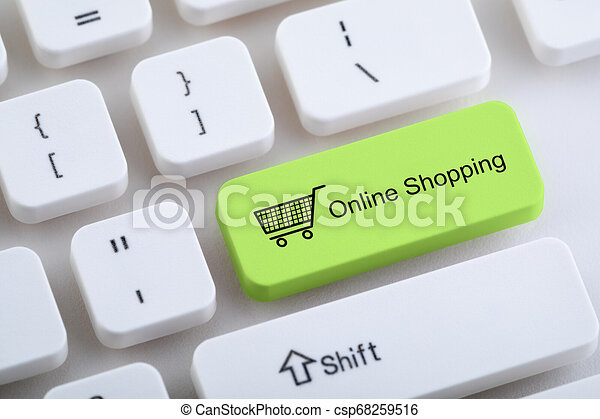 Teclado de computadora con botón de compras en línea - csp68259516