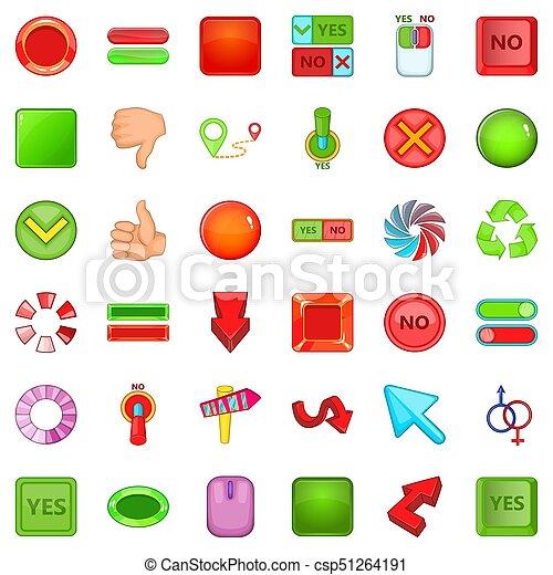 iconos de botones, estilo de dibujos animados - csp51264191