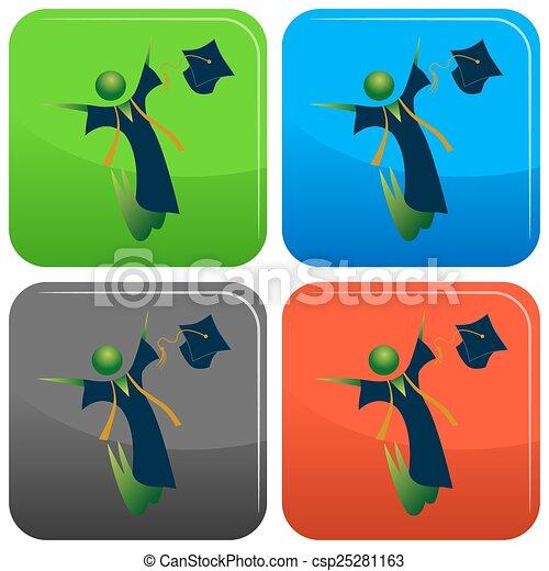 Feliz botón de graduación - csp25281163