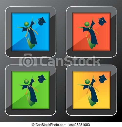 Feliz botón de graduación - csp25281083