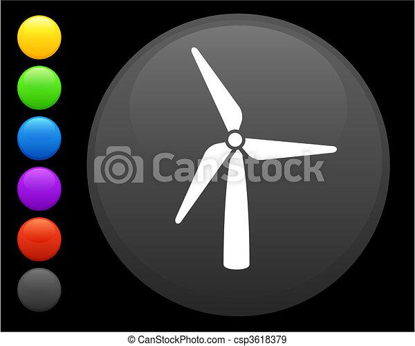Icono de turbina de viento en el botón de internet - csp3618379