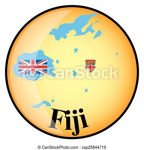 Boton Naranja Con Los Mapas De Imagen De Las Islas Fiji