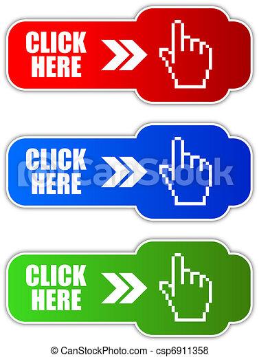 Vector click aquí botón - csp6911358