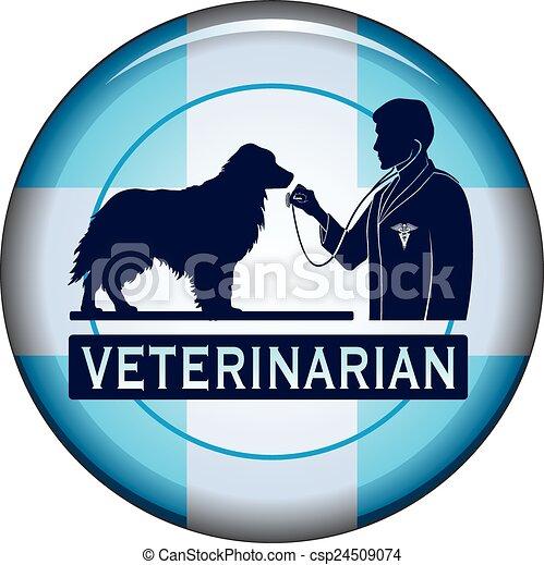 Veterinario con botón de perro - csp24509074