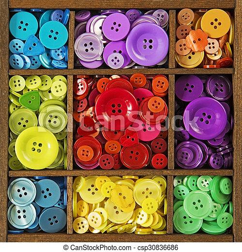 botões, coloridos - csp30836686