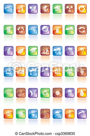 botões, lustroso, ícones - csp3369830