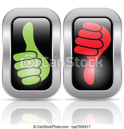 botões, positivo, votando, negativo - csp7932417