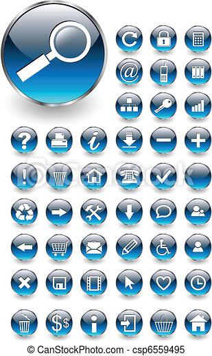 botões, teia, jogo, ícones - csp6559495