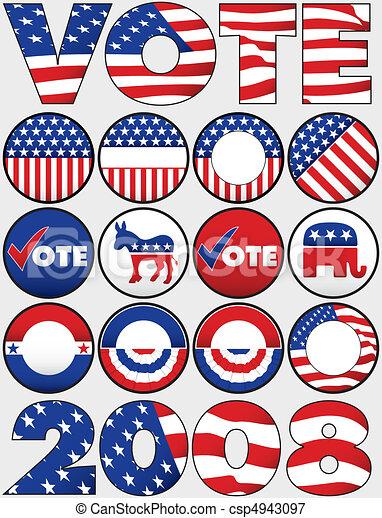 botões, vário, político, ícones - csp4943097