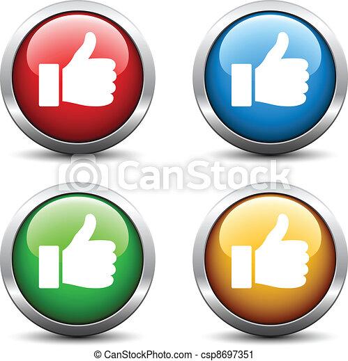 botões, vetorial, polegar cima - csp8697351