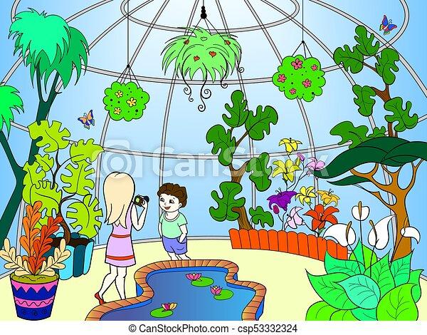 Botanical Garden Cartoon Vector Illustration Color Pattern