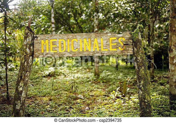 Botanical garden sign for medicinal plant section - csp2394735