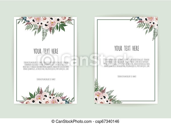 Botanical Wedding Invitation Card Template Design White And Pink Flowers On White Background Botanical Wedding Invitation